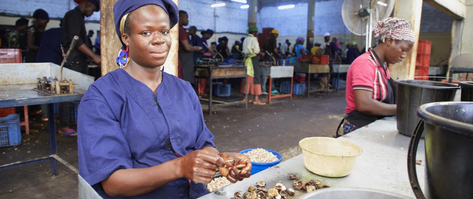 Benin Tchaourou Afokantan Cashewnotenfabriek   20-6-2018 foto Jaco Klamer